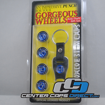 Honda Logo Blue locking Valve Stem Covers includes 4 locking Valve Stems and 1 Key