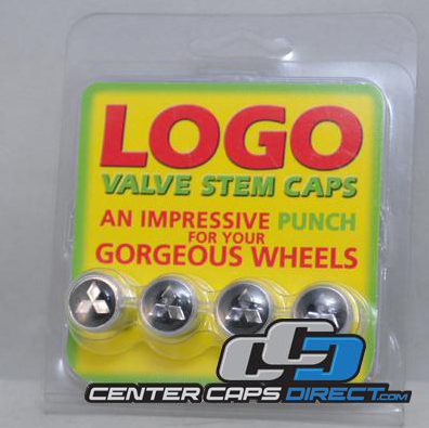 Mitsubishi Logo Black Non-Locking Valve Stem Covers Includes 4 Non-Locking Valve Stem Covers