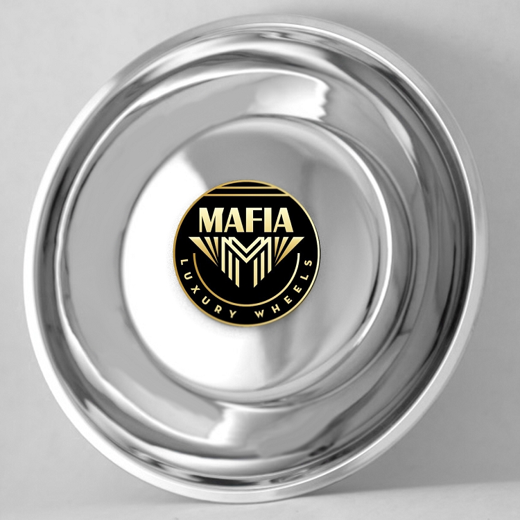 Set of 4 Stationary Logo Mafia Luxury Wheels Universal Center Caps Covers Lug Nuts
